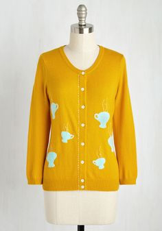 My One Brew Love Cardigan. Your affection for this ModCloth-exclusive cardigan wont have to steep for too long, for its quirky charm grabs your heart right away! #yellow #modcloth