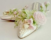 Pink Rose Lace And Pearls  Bridal Shoes Garden Wedding Downton Abbey Bride's Shoes Spring Flowers Couture Shoes Princess Novia  Quinceanera