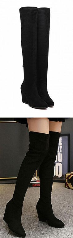 Black keen wedge boots #wedge   check fabulous shoes in choies.com