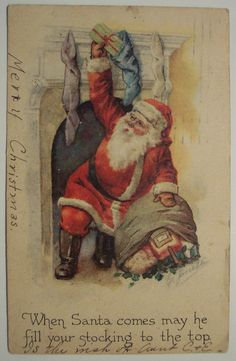 When Santa comes may her fill your stockings to the top. Vintage Christmas Postcard     Santa...https://flic.kr/p/49GrGv |