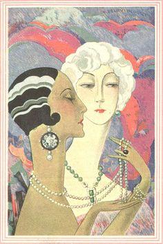 art deco, ladies with pearls