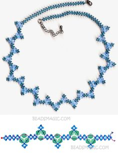 Free pattern for necklace Blue River seed beads 11/0 bicone beads 4-6 mm