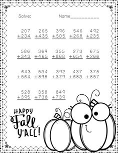 Fall Themed Addition with Regrouping Math Practice Worksheets, School Worksheets, Math Resources, Math Sheets, School Site, Math Numbers, Math Stations, 3rd Grade Math, Elementary Education