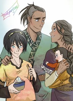 Sokka taking his two best girls out for a day out by http://lovelyrugbee.tumblr.com/