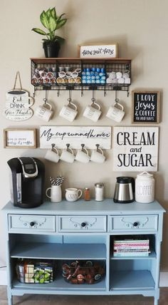 Cute Coffee Station Ideas – Searching for coffee bar ideas? By picking a distinc… Cute Coffee Station Ideas – Searching for coffee bar ideas? By picking a distinct location to position all your coffee making basics you will have the capability to apprecia Coffee Bar Home, Home Coffee Stations, Coffee Cozy, Morning Coffee, Coffee Bar Design, Coffee Shop, Beverage Stations, Coffee Tin, Kitchen Coffee Bars