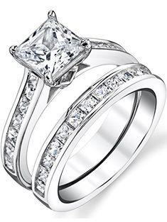 Oxford Diamond Co Princess Cut 2 Ring Wedding Bridal Set .925 Sterling Silver Ring Sizes 5-10