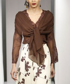 Look what I found on #zulily! Chocolate Sheer Floral Chiffon V-Neck Top - Plus Too #zulilyfinds