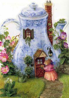 Artist Susan Wheeler - a fairy-type house made from a teapot - Adorable!