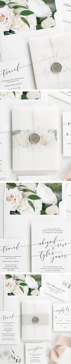 Wedding invitations with vellum jacket, wax seal and floral envelope liner.  Perfect for a neutral wedding!
