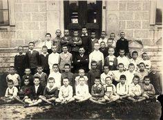 Iasi, Romania, class photograph of students with their teacher, prewar