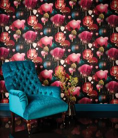 A magical bright multi-coloured, photographic Japanese lantern wallpaper design, enhanced with a textured pleated fabric effect