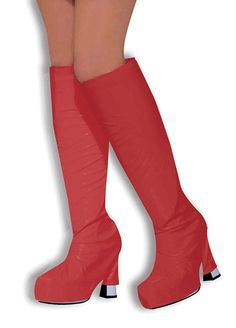 4ea1eb287e8 Add the finishing touch to your Go-Go girl costume with these brilliant red  boot top covers. Made from vinyl these covers go over you own shoes or boots  to ...
