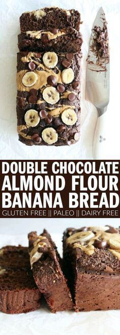 The best double chocolate banana bread recipe you'll ever need! Made with almond… The best double chocolate banana bread recipe you'll ever need! Made with almond flour, it's gluten free, dairy free, and paleo! Flours Banana Bread, Gluten Free Banana Bread, Banana Bread Recipes, Gluten Free Baking, Keto Bread, Almond Banana Bread, Vegan Bread, Oat Flour, Almond Flour Bread
