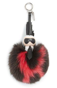4cf9c16bbff6 Fendi  Pompom Karl  Genuine Fox Fur   Leather Bag Charm