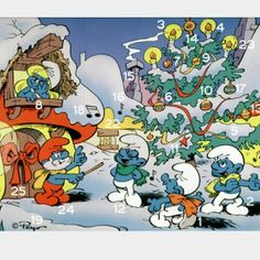 Retro Smurf advent calendar . I remeber this was the most magical calendar I ever had.Smurfs with christmas poses behind each door !
