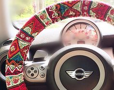 Red zigzag Aztec Chevron Cross Multicolor Steering wheel cover, Red chevron bohemian steering wheel cover