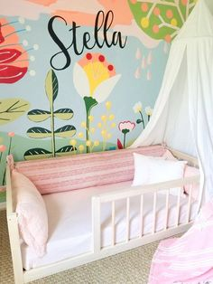 """Our most popular floor bed now includes mattress slat supports! Make your toddlers switch from a crib to """"big kid"""" bed easy with our railed quality built floor bed! Handcrafted in Ohio, USA. Toddler Floor Bed, Floor Beds For Toddlers, Baby Floor Bed, Toddler Twin Bed, Big Girl Rooms, Kid Beds, Girls Bedroom, Baby Room, Kids Room"""