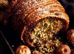Roast Loin of Organic, Free-Range Pork, with Apple, Apricot and Pistachio Nut Stuffing