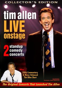 """Tim Allen: Live On Stage Two comedy concerts which represent the best of Tim Allen as a stand-up comedian before Tim's hit TV series """"Home Improvement"""" and his Tim Allen, Toy Story, Santa Claus Movie, La Mans, Find Music, Stand Up Comedians, Music Online, Music Pictures, Man Standing"""