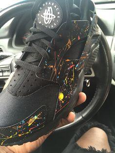 Custom black with pain splatter paint huaraches
