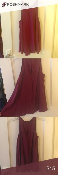 Maroon tank top Flowy high neck tank top. Only worn once. Maroon color, button in the back. Slight high-low style Old Navy Tops Tank Tops