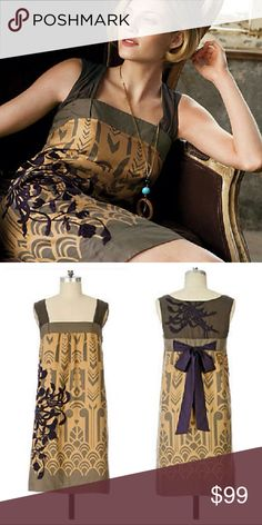 Anthropologie Floreat Guillemot silk cotton dress Tan brown silk cotton blend with eggplant purple highlights. Rare style from Floreat. Art Deco vintage inspired print. Purple floral embroidery on hip and back of the shoulders. Hidden size zipper and tie back for a great fit. Excellent condition with no stains or damage! Anthropologie Dresses Mini