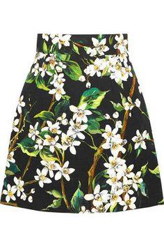 Floral-print woven cotton mini skirt #miniskirt #women #covetme #dolce&gabbana