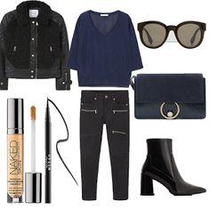 Look # 47-Fall Outfit Idea-Fine-knit t-shirt-Faux shearling jacket-Patent sock boots-Super slim-fit Biker jeans-Leatherflap bag- Retro style sunglasses- | Style Spacez