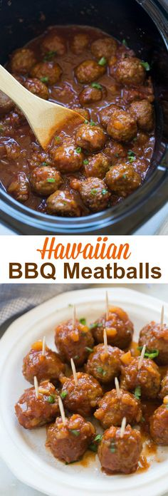 Slow Cooker OR Stovetop Hawaiian BBQ Meatballs are the perfect fun, easy party appetizer or enjoy them as a main dish, served over rice. | tastesbetterfromscratch.com