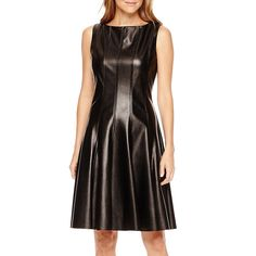 Danny and Nicole Sleeveless Faux-Leather Fit-and-Flare Dress Sizes 6P *** Want additional info? Click on the image. (This is an affiliate link) #OfficeWear