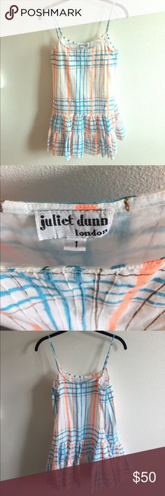 Juliet Dunn London Mini Dress The perfect mini dress for vacation, summer afternoons and outdoor concerts! Adorable on its own or over jeans. White with turquoise, peach and gold pattern. Adjustable straps. Fully lined. Juliet Dunn London Dresses Mini