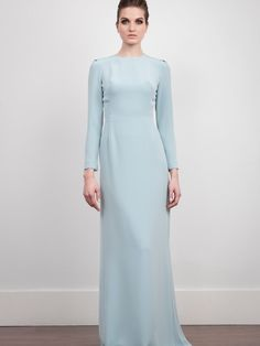 The 2nd Skin Co. Pale blue evening dress. Cady crepe. Long sleeve.  #Fashion #Women #Dress