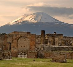 View of Mount Vesuvius from Pompeii: I climbed that and was the first of the group to reach the top! :))