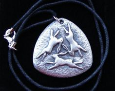 "THREE HARES PENDANT Pagan Pewter Wicca Celtic Black 18"" cord"