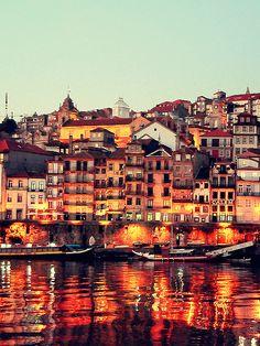 Porto, PT- view of the UNESCO world heritage site in Oporto on the Douro river
