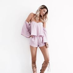 Available at Sundress Boutique! //Romp into spring 🌸 new arrivals are here including this blush waterfall romper $52//