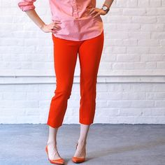 J. Crew Red Skimmer Pants Super cute and perfect for any season! Looks awesome paired with neutrals or color. Good pre worn condition with no flaws. City fit. No trades!! 02151640gwpg J. Crew Pants Trousers