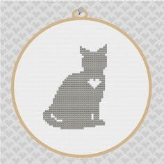 Cat Silhouette Cross Stitch PDF Pattern 001. via Etsy.