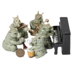 HIPPOPOTAMUS-MUSIC-BAND-SET-CERAMIC-POTTERY-STATUS-ANIMAL-MINIATURE-FIGURINE