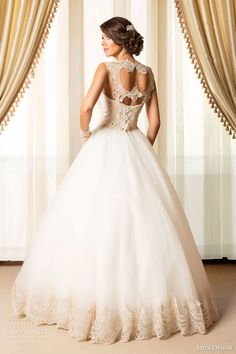 alice design bridal 2015 wedding dress sleeveless ball gown lace bodice gold keyhole back view