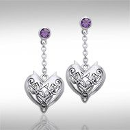 Joyous Celtic Hearts Silver Earrings TER210 - Celebrate the joy of love with these intricately crafted Celtic knotwork heart earrings that carry the symbolism of eternal love.  Peter Stone the world's leading manufacturer of fine sterling silver jewelry has created the Celtic Knotwork Heart Collection to capture the eternal bond of love with Celtic inspired designs cast in stunning sterling silver.