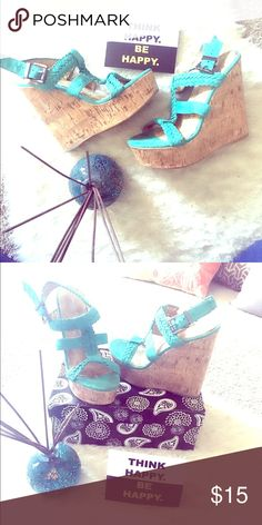 Charlotte Russe turquoise wedges Beautiful super high turquoise wedges with woven style straps. Great addition to spring or summer collection.🛍🛍🛍 Charlotte Russe Shoes Wedges
