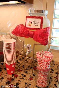Chloe's DIY retro red white & yellow Minnie Mouse Birthday Party with themed food | remodelicious