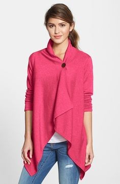 Bobeau Asymmetrical Fleece Wrap Cardigan (Regular & Petite) | Nordstrom--looks comfy