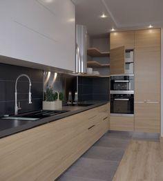 Kitchen-living room Kitchen-living room on Behance Kitchen Room Design, Kitchen Cabinet Design, Living Room Kitchen, Home Decor Kitchen, Interior Design Kitchen, Diy Kitchen, Kitchen Furniture, Kitchen Cabinets, Furniture Stores