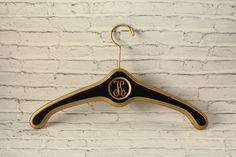 Vintage Solid Wood Hanger Hollywood Regency Style Black & Gold Painted Metal Hook Circle Detail Initial Letter K Monogram Vintage Closet by BrooklynBornFinds on Etsy