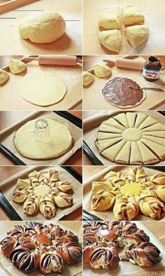 Nutella Flower - Fashion Kitchen - An absolute MUST for Nutella and chocolate fans! The Nutella flower made of airy yeast dough and lo - Christmas Bread, Christmas Desserts, Pastry Recipes, Cake Recipes, Bread Recipes, Homemade English Muffins, Food Tags, Chocolates, Hazelnut Spread