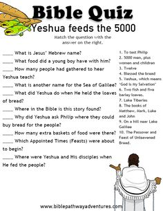 Bible Quiz for Kids: Yeshua feeds the 5000 Printable bible quiz - Yeshua (Jesus) feeds the 5000 Bible Topics, Bible Resources, Bible Activities, Bible Games, Bible Study Notebook, Bible Study For Kids, Bible Lessons For Kids, Kids Bible, Sunday School Activities
