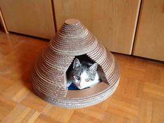 DIY Upcycled Cardboard Cat House
