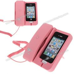 Iphone charger that lets you answer an actual phone when it rings!